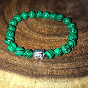 Buddha Silver Plated Green Howlite Beaded Bracelet